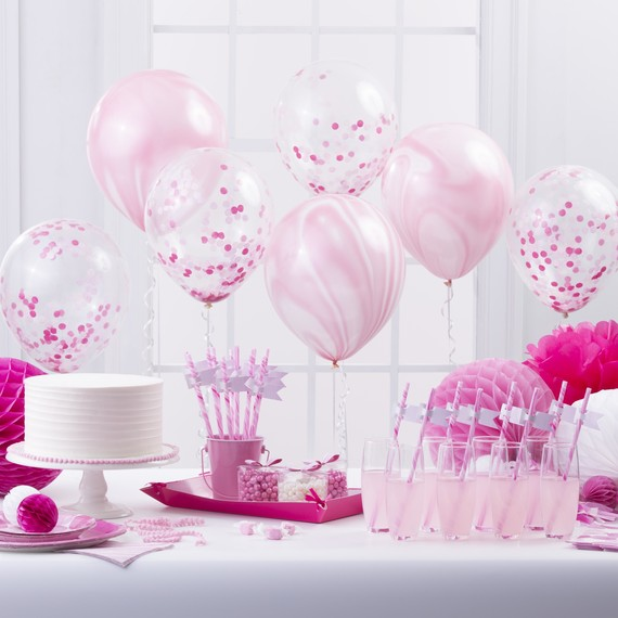 Celebrations crafts pink party supplies table