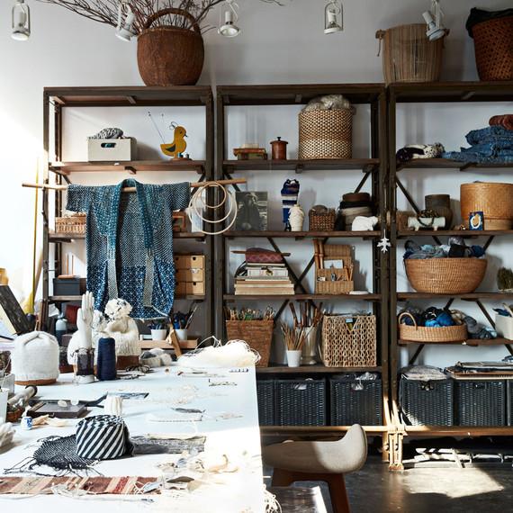 textile studio with shelves of handmade baskets