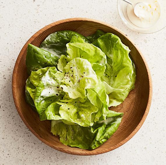 stacked bibb lettuces lemon cream