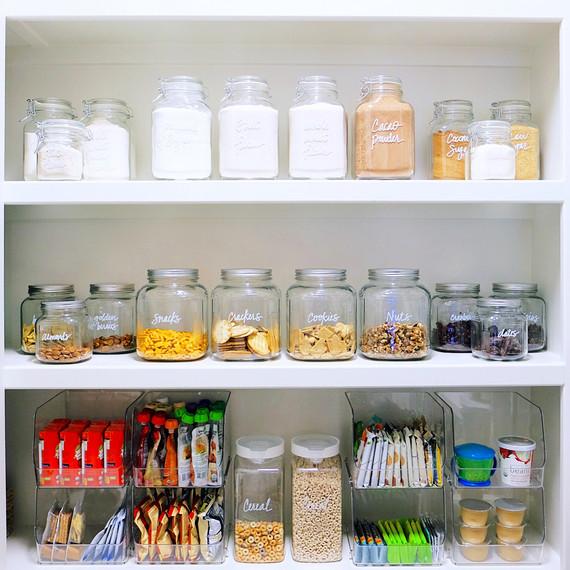 pantry organization labeled jars snacks trays