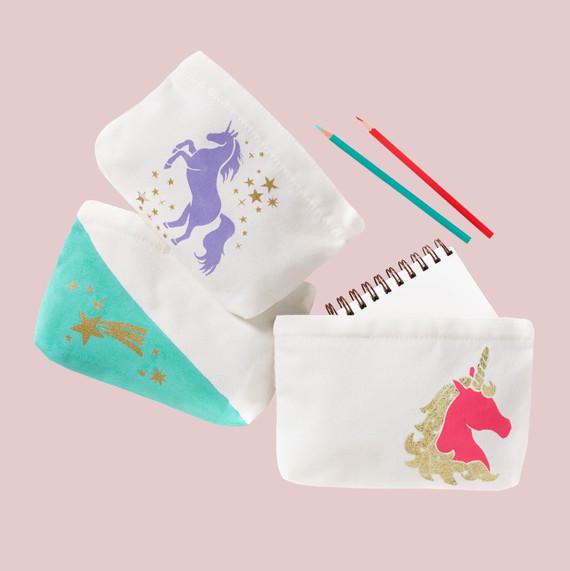 stenciled unicorn pencil pouches