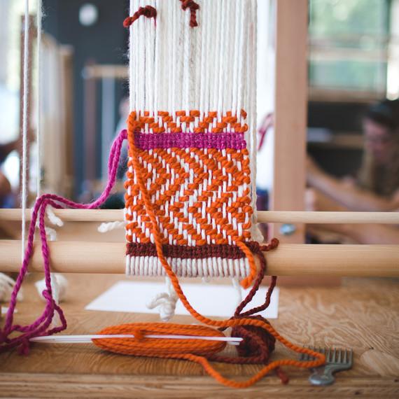 weaving orange pink wild craft studio school