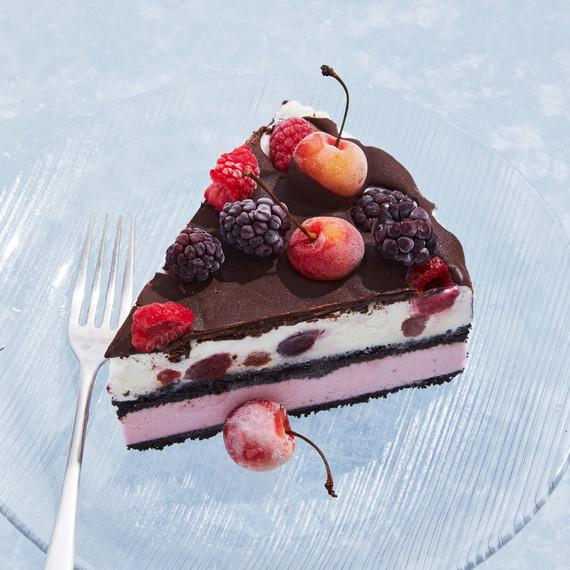 berries cherries ice cream cake