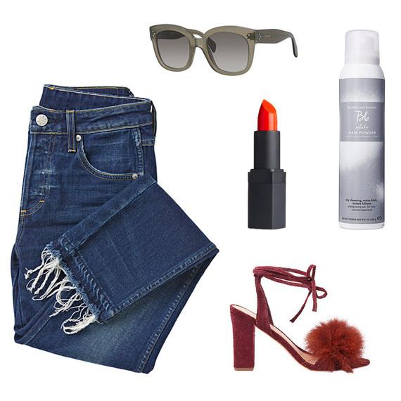 jeans shoes lipstick hair powder sunglasses