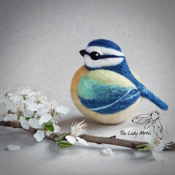 needle-felted blue bird