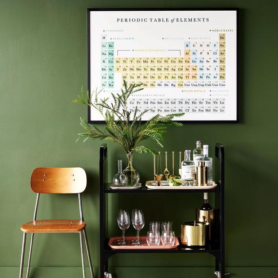 geek library cart periodic table beakers