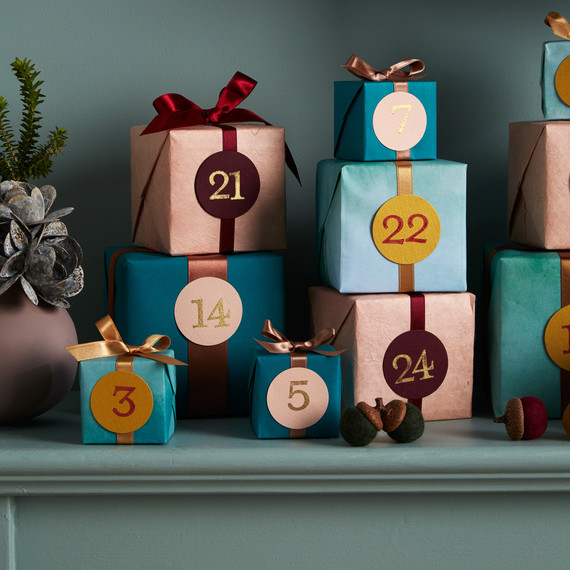 mantle blue wall advent calendar presents