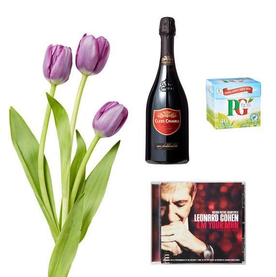 tulips pg tips tea leonard cohen cd champagne