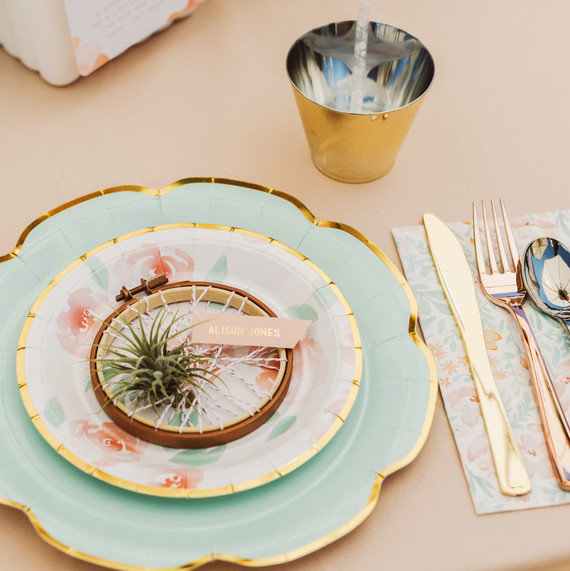 mint blush baby shower place setting plates silverware