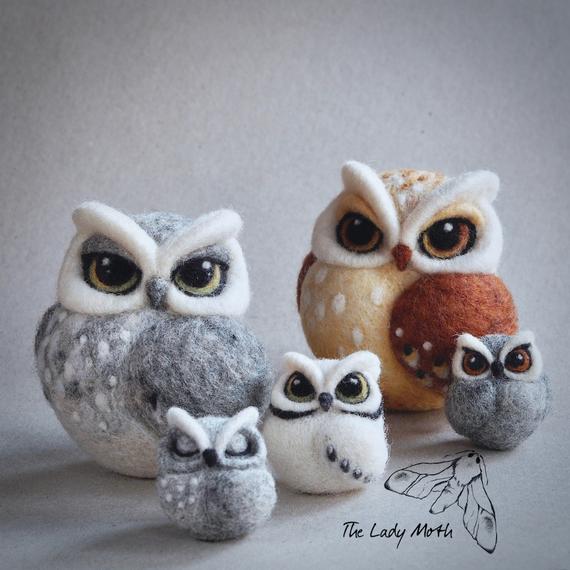 needle-felted owl family
