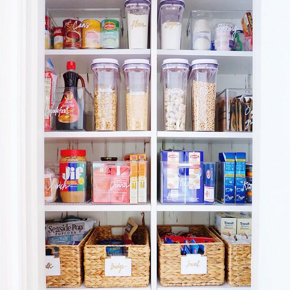 pantry organization baskets of snacks