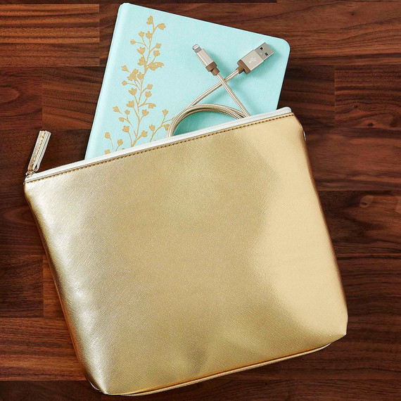 staples gold workspace desk organization merch gold guesset pouch