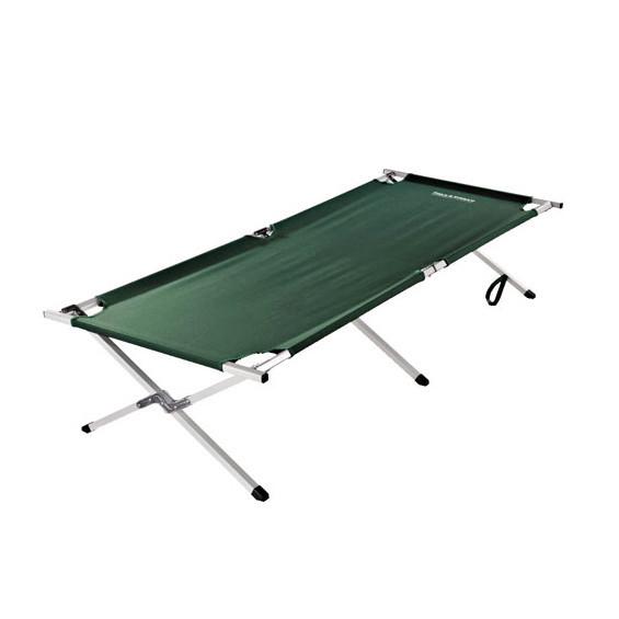 green camping cot