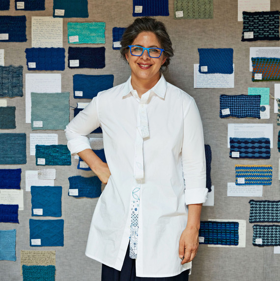 jordana munk martin standing in front of blue textile swatches