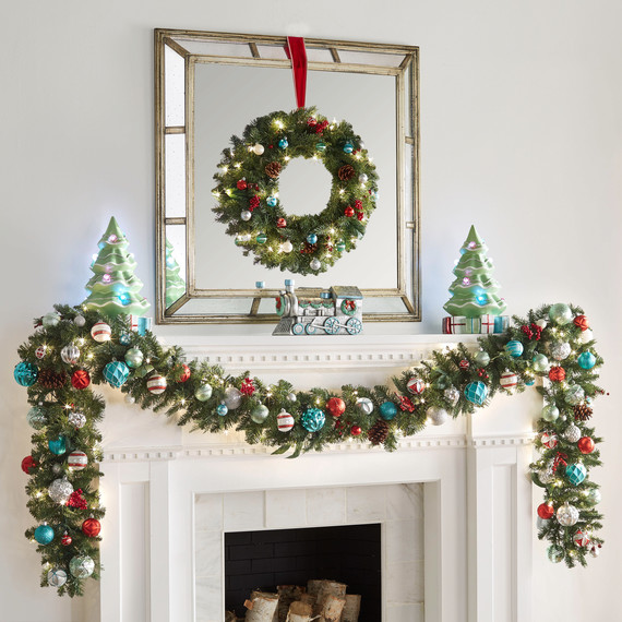 martha holiday countdown 2017 wreath fireplace mantel