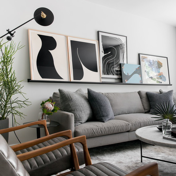 grey living room with plant accents and white windows