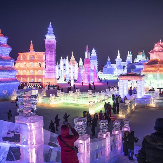 night lights ice city sculpture