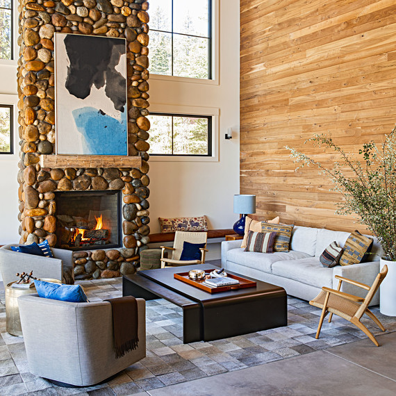 lake tahoe house living room fireplace