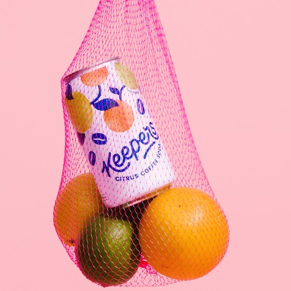 Keepers coffee soda can in a fruit sack