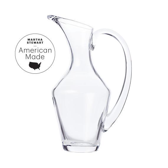 american made simon pearce glass pitcher