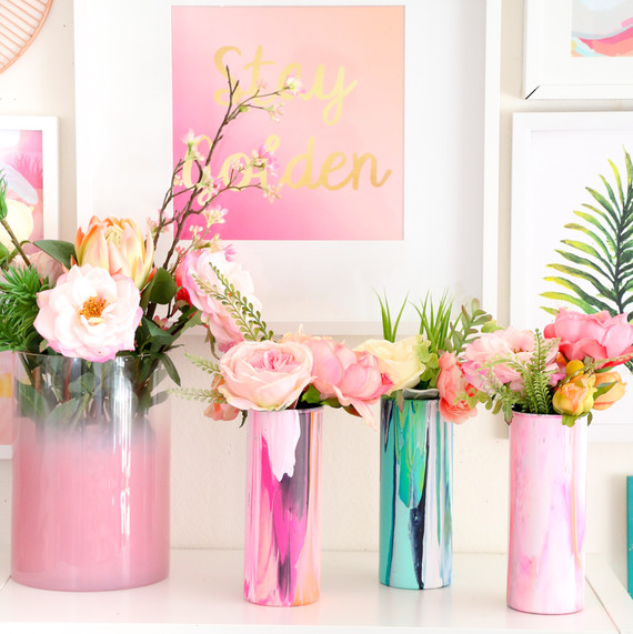 marbleized floral vase & Host a Galentine\u0027s Day Crafternoon Party with DIY Vases | Martha Stewart