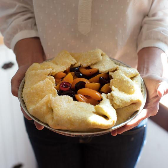 apricot cherry pie prepping