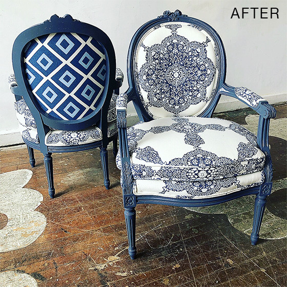 furniture makeover blue chair
