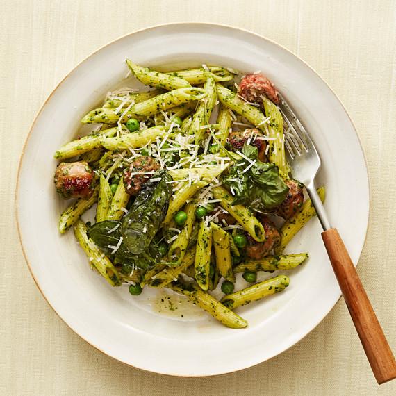 green pasta turkey meatballs