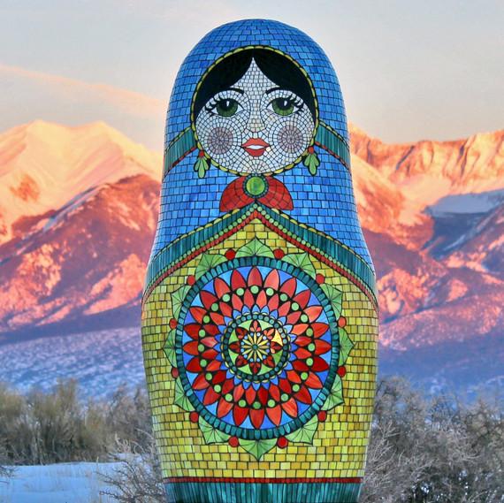 Kasia Polkowska stained glass mosaic matryoshka doll