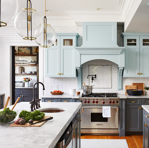 kitchen makeover with modern globe lighting