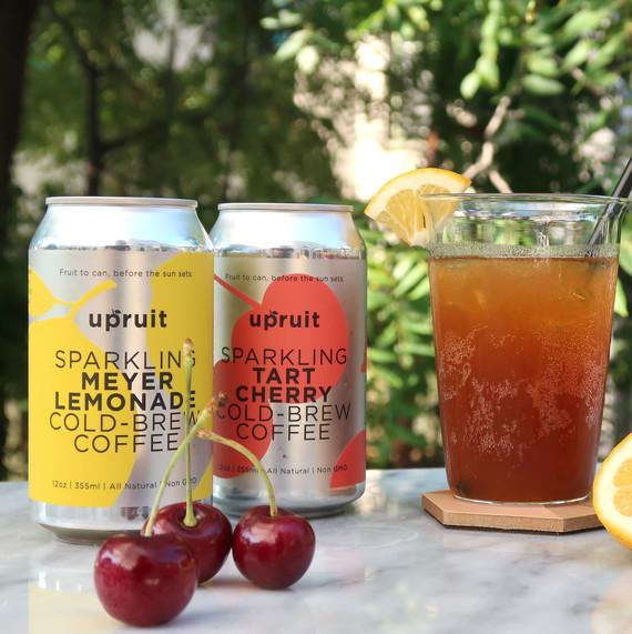 Upruit sparkling coffee lemonade cherry close-up