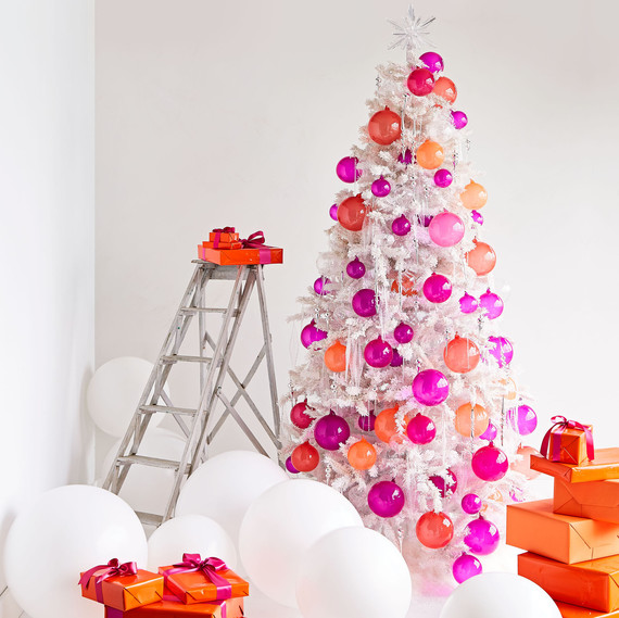 Kevin Sharkey's White Flocked Christmas Tree Bursting with Color