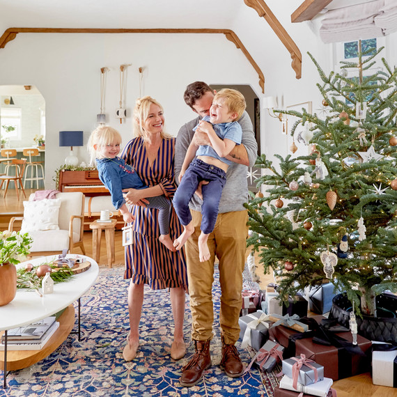 emily henderson with family and christmas decor