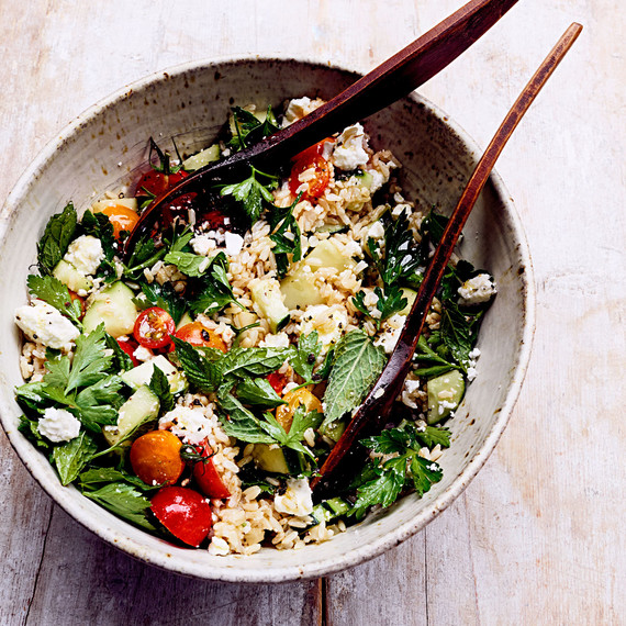 rice salad with tomatoes cucumbers feta