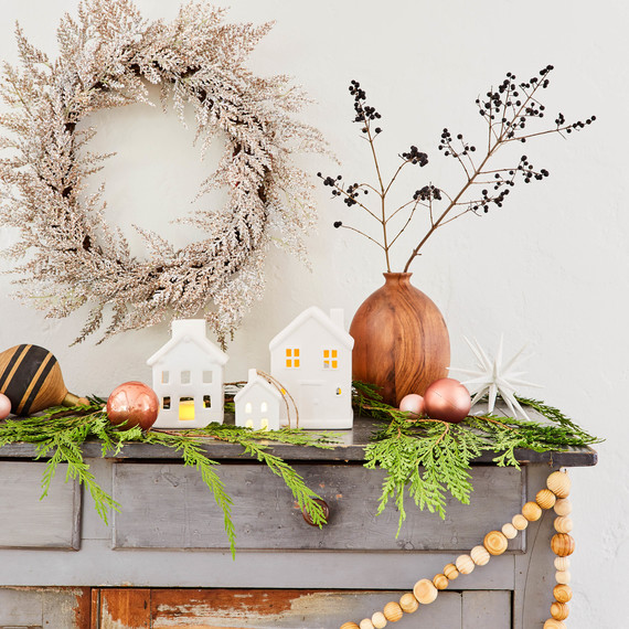 target holiday decor emily henderson wreath wood bead garland