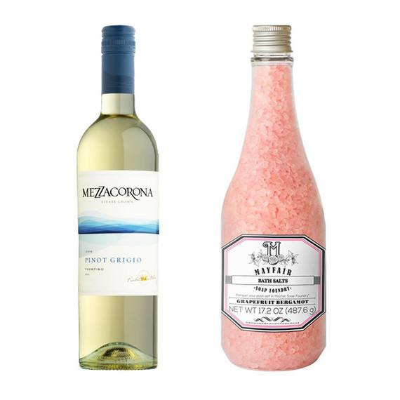 Mezzacorona Pinot Grigio Mayfair Soap Foundry Bath Salts in Grapefruit Bergamot