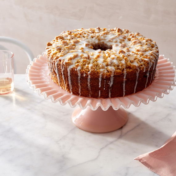 meyer lemon coffee cake on pink stand