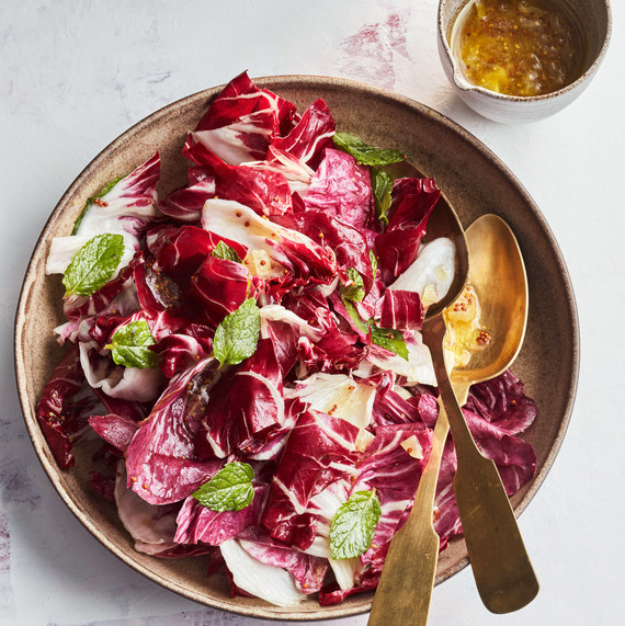 Radicchio Salad With Chopped-Lemon Dressing with spoons