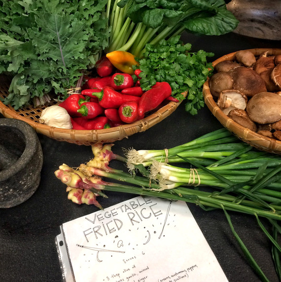 fresh produce with fried rice recipe