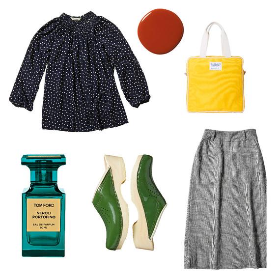 blouse perfume shoes skirt bag nail polish