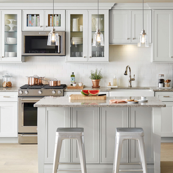 home depot select kitchen style light gray cabinets & How to Paint Kitchen Cabinets | Martha Stewart