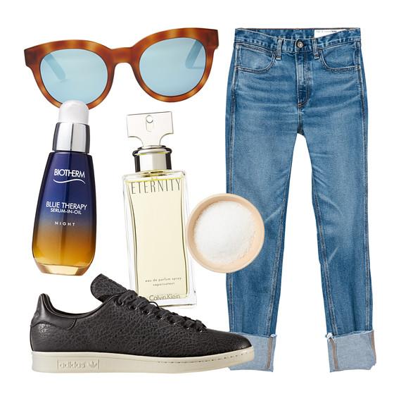jeans sunglasses perfume sea salt sneakers serum