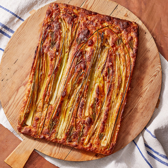 onion leek focaccia bread martha bakes