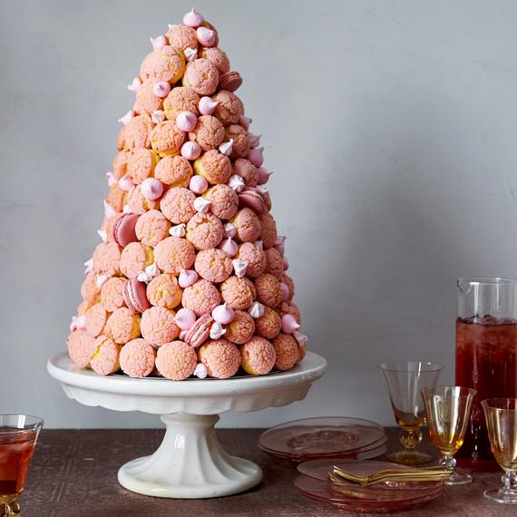 pink croquembouche pate a choux martha bakes
