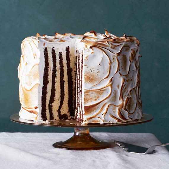 Eggnog Semifreddo Genoise Cake with Meringue Frosting