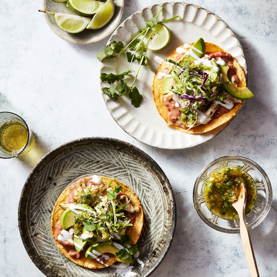 chicken tostadas tomatillo cilantro salsa