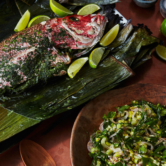 grilled fish banana leaf