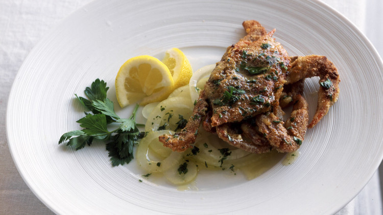 soft shell crab white dish meal
