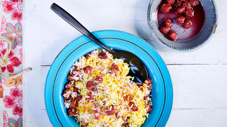 albaloo polo saffron-infused rice topped with preserved cherries