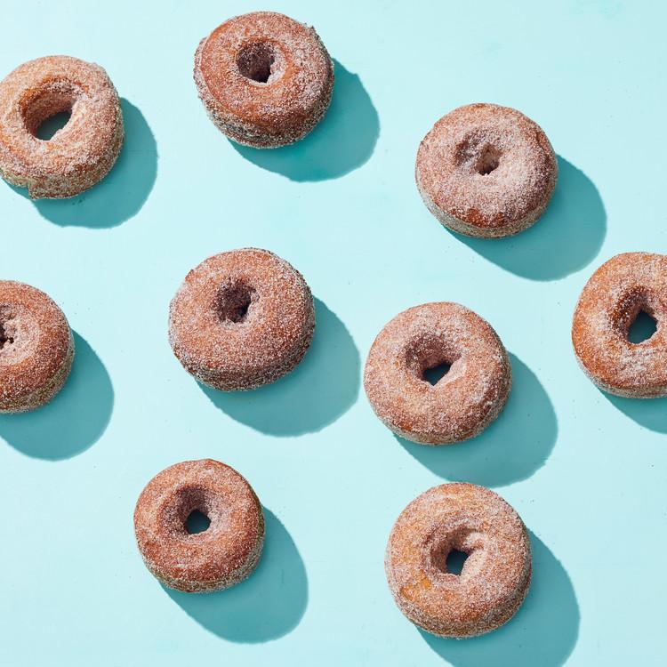apple cider donuts on blue background
